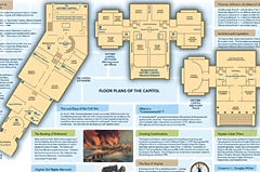 Previous designs of the brochure allowed for much historic information to be displayed. Although, as diagrams were broken up showing the modern extension, along with the individual floors separately, visitors had a hard time locating their locations in such a large place.